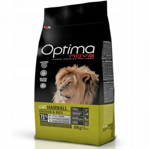 Optimanova Cat Hairball Chicken & Rice 8 kg